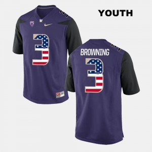 Embroidery Washington Huskies Jake Browning Jersey US Flag Fashion Purple #3 Kids 690498-544