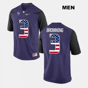 Stitched Purple #3 For Men's US Flag Fashion UW Jake Browning Jersey 185698-760