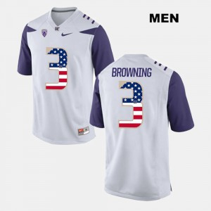 US Flag Fashion Washington Jake Browning Jersey Official White For Men's #3 639409-884