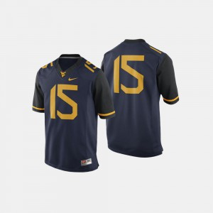 WVU Jersey #15 Navy For Men College Football Stitched 862896-133