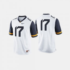 For Men West Virginia Jersey White University College Football #17 888090-639