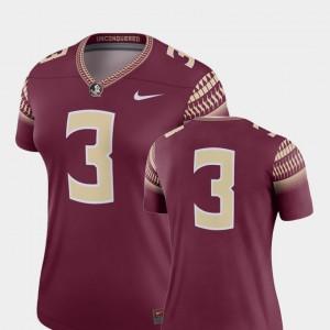College Football Garnet Seminole Jersey Womens Legend #3 Stitched 783308-870