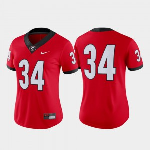 Game For Women Embroidery Red #34 College Football UGA Jersey 947914-768