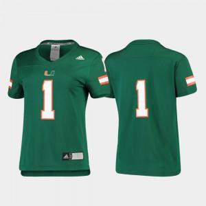 For Women Football Miami Jersey Green #1 Replica Alumni 376000-204