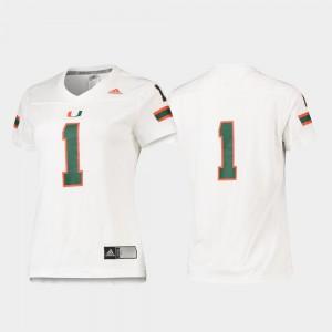 #1 White Miami Hurricane Jersey Replica Football For Women's Stitch 234198-280