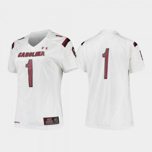 For Women's NCAA Replica #1 College Football White USC Gamecock Jersey 831193-427