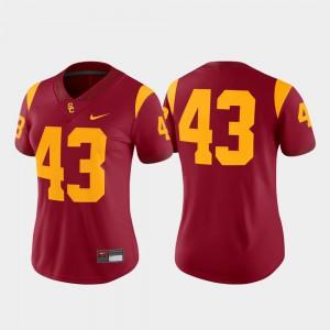College Football Trojans Jersey Cardinal Game Stitch Women #43 736630-786
