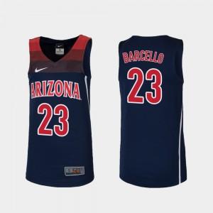 Navy Stitch Youth Replica College Basketball University of Arizona Alex Barcello Jersey #23 611658-959