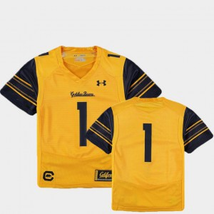 Gold College Football Youth(Kids) California Bears Jersey #1 Finished Replica Official 934036-760