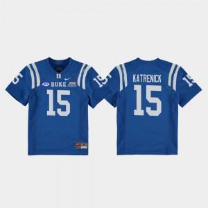 College Football Game #15 Alumni Royal Duke University Chris Katrenick Jersey For Kids 2018 Independence Bowl 285191-342