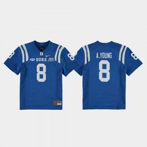 2018 Independence Bowl Royal Stitch Duke University Aaron Young Jersey #8 College Football Game Youth(Kids) 660317-273