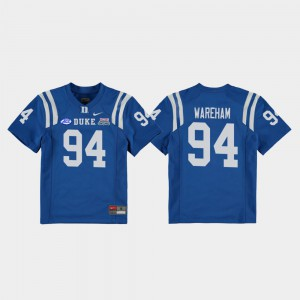 2018 Independence Bowl Stitched Duke Collin Wareham Jersey College Football Game Royal Youth #94 164144-253