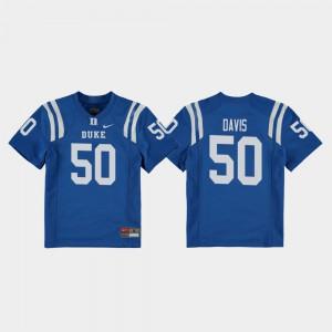 College Football Stitched Replica Youth(Kids) Royal Duke University Austin Davis Jersey #50 961274-700