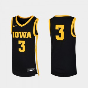 Basketball Black #3 Official University of Iowa Jersey For Kids Replica 123983-118