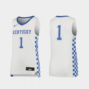 Youth(Kids) White Replica #1 Basketball Player Kentucky Jersey 724971-308