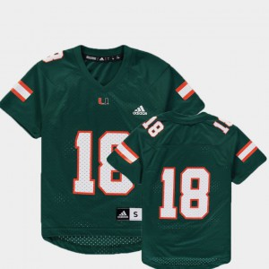 University of Miami Jersey Replica #18 Green For Kids College Football Player 802973-632