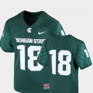 Youth(Kids) Michigan State Jersey #18 College Football Green Team Replica Alumni 789406-721