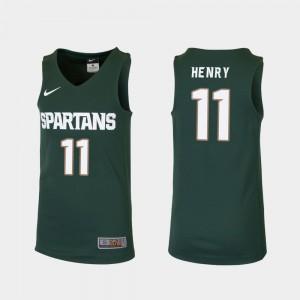 Replica Player College Basketball Kids Green MSU Aaron Henry Jersey #11 627794-749