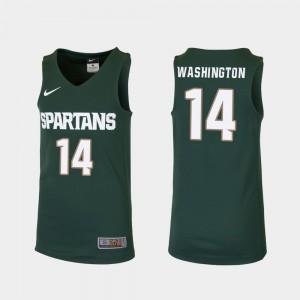 NCAA Green College Basketball Youth Replica #14 Michigan State Brock Washington Jersey 655045-508