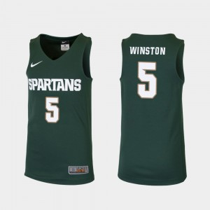 Michigan State Cassius Winston Jersey Green Replica #5 Youth Official College Basketball 758009-787