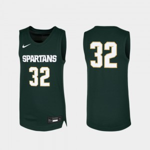 #32 Basketball Replica Michigan State Jersey Green For Kids NCAA 303206-584