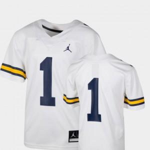 College Football White #1 Team Replica University of Michigan Jersey NCAA Kids 273229-578