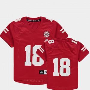 Nebraska Jersey Scarlet For Kids Replica NCAA #18 College Football 825203-689