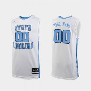 For Kids Replica Player White North Carolina Tar Heels Custom Jersey #00 College Basketball 732645-215