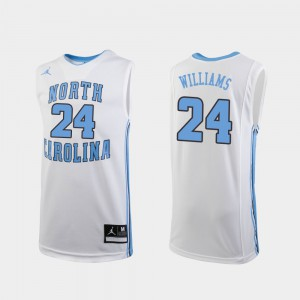 UNC Tar Heels Kenny Williams Jersey White Player #24 College Basketball Youth Replica 482087-559