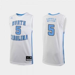 UNC Nassir Little Jersey Stitch White Replica College Basketball #5 Youth(Kids) 232552-542