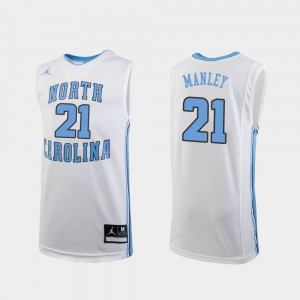 College Basketball North Carolina Sterling Manley Jersey #21 White For Kids Replica Official 443882-962