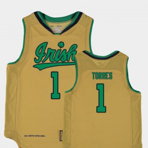 College Basketball Special Games Kids Replica High School ND Austin Torres Jersey Gold #1 291372-757