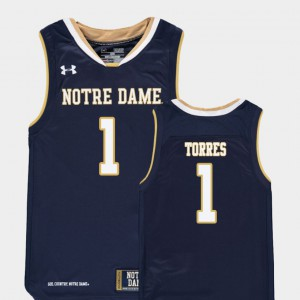 Embroidery Navy #1 Replica College Basketball Kids ND Austin Torres Jersey 564900-657