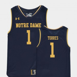 Replica Navy University Notre Dame Fighting Irish Austin Torres Jersey #1 College Basketball Special Games Youth(Kids) 375326-472