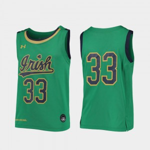 Replica College Basketball UND Jersey Embroidery Kelly Green Youth #33 442400-173
