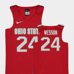 Replica Embroidery College Basketball #24 For Kids Ohio State Andre Wesson Jersey Red 209545-655