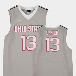 OSU Buckeyes Andrew Dakich Jersey College Basketball Gray Replica Stitched Youth(Kids) #13 990664-328