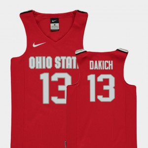 Youth Player #13 OSU Andrew Dakich Jersey Red Replica College Basketball 852248-160