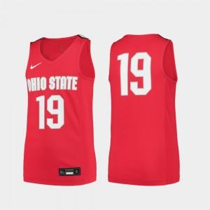 Youth(Kids) Stitched #19 OSU Jersey Scarlet Replica College Basketball 417984-541