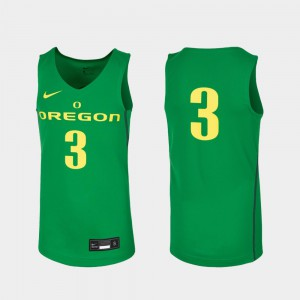 College Basketball Replica Youth Oregon Duck Jersey #3 Kelly Green Stitched 947894-998