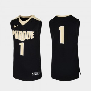 #1 Black Replica Purdue Jersey Youth(Kids) Embroidery College Basketball 233946-407