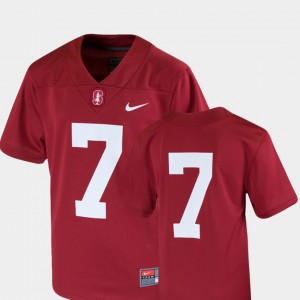 Youth #7 Cardinal Stanford University Jersey College Football Team Replica Embroidery 727516-451