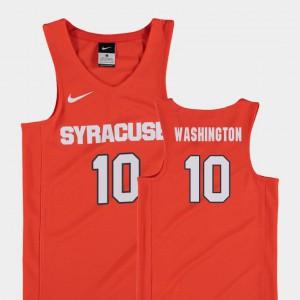 Replica College Basketball Embroidery Syracuse University Howard Washington Jersey #10 For Kids Orange 868413-599