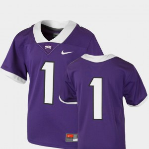 Youth Purple College Football Stitch #1 Team Replica TCU Horned Frogs Jersey 786333-628
