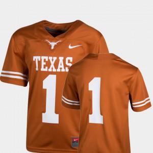 UT Jersey Embroidery #1 Texas Orange Kids College Football Team Replica 464200-880