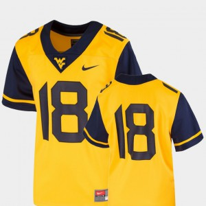 Team Replica College Football For Kids WV Jersey #18 Gold Player 920575-730