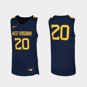 West Virginia University Jersey Youth Stitched Basketball Navy #20 Replica 434738-858